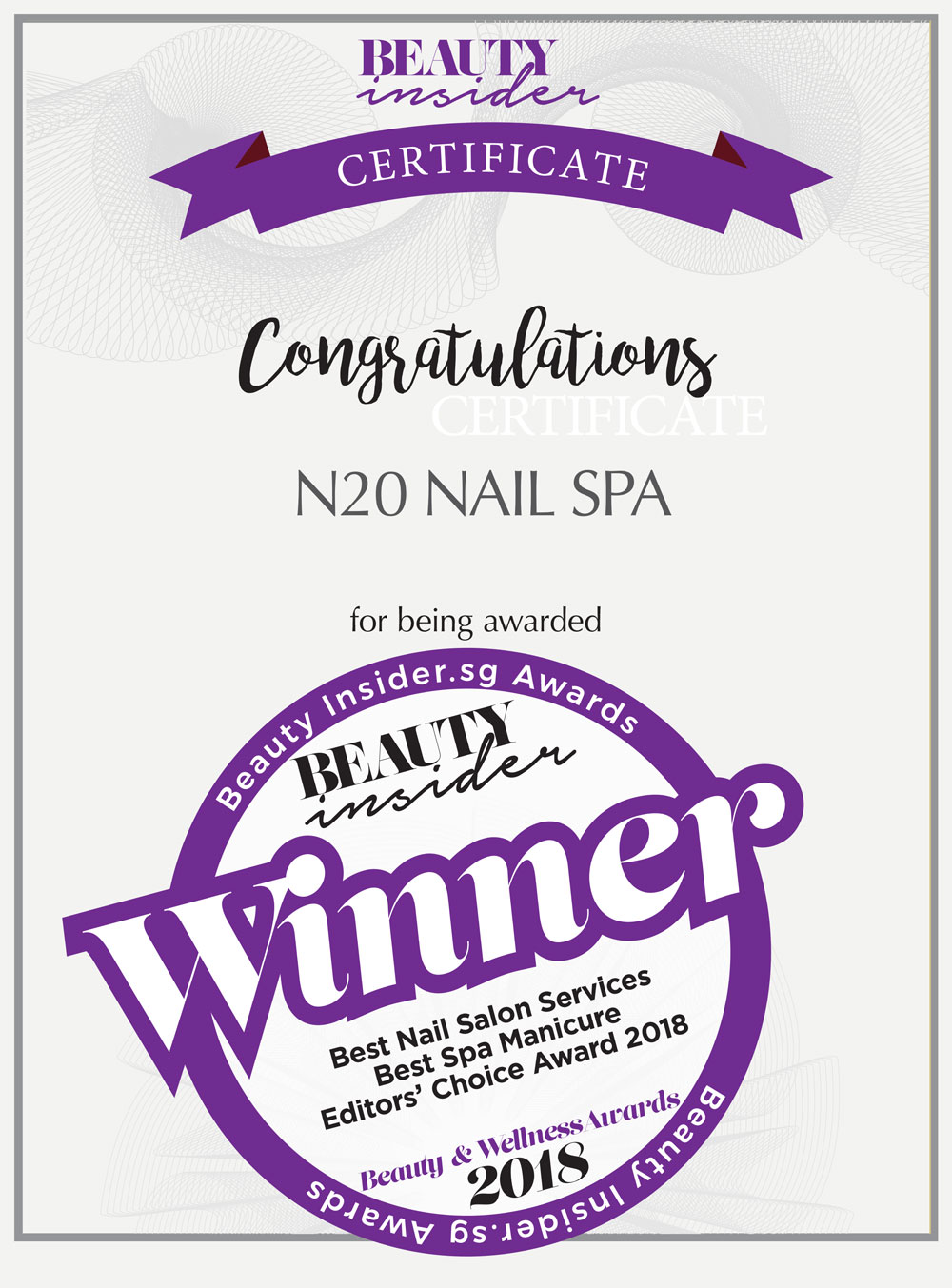 2018 Best Nail Salon Services & Spa Manicure Award Certificate