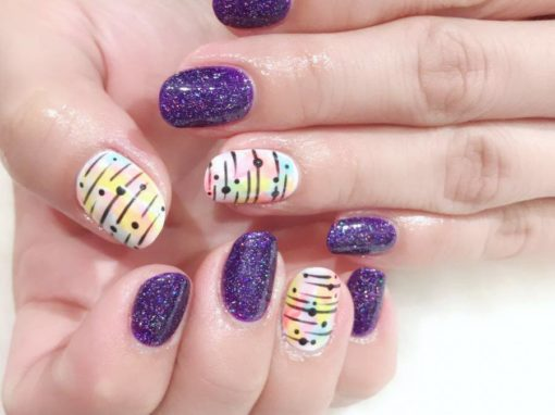 Glitters purple pastel rainbows manicure nail art