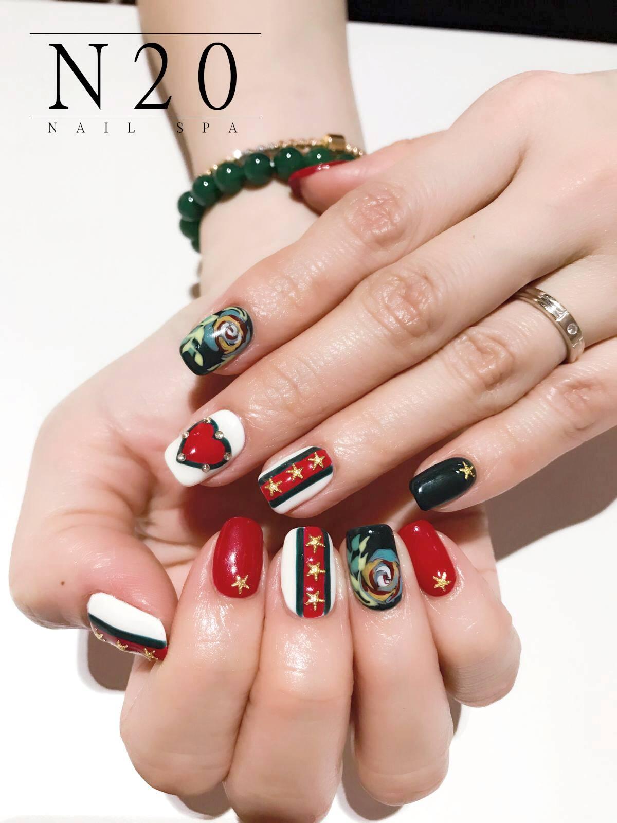 Gold Stars, Red Heart, Jewel-studded Manicure Nail Art