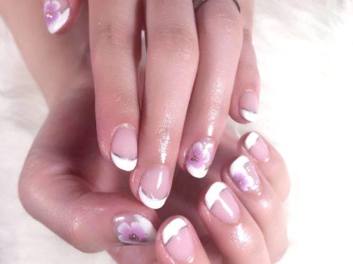 White band silver horizon pink flora clear manicure nail art