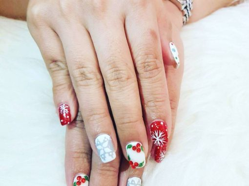 Red white Christmas manicure nail art