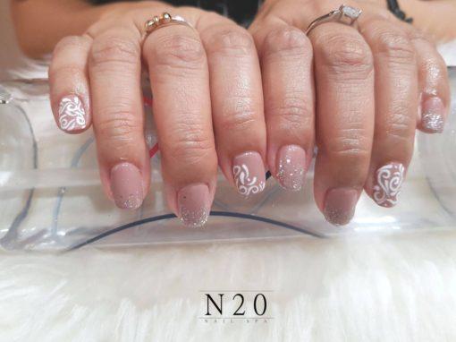 Pink white basic flora manicure nail art