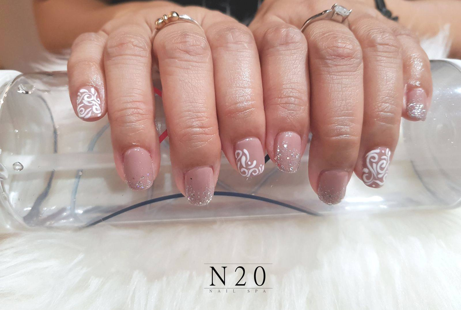 Pink White Basic Flora Manicure Nail Art N20 Nail Spa