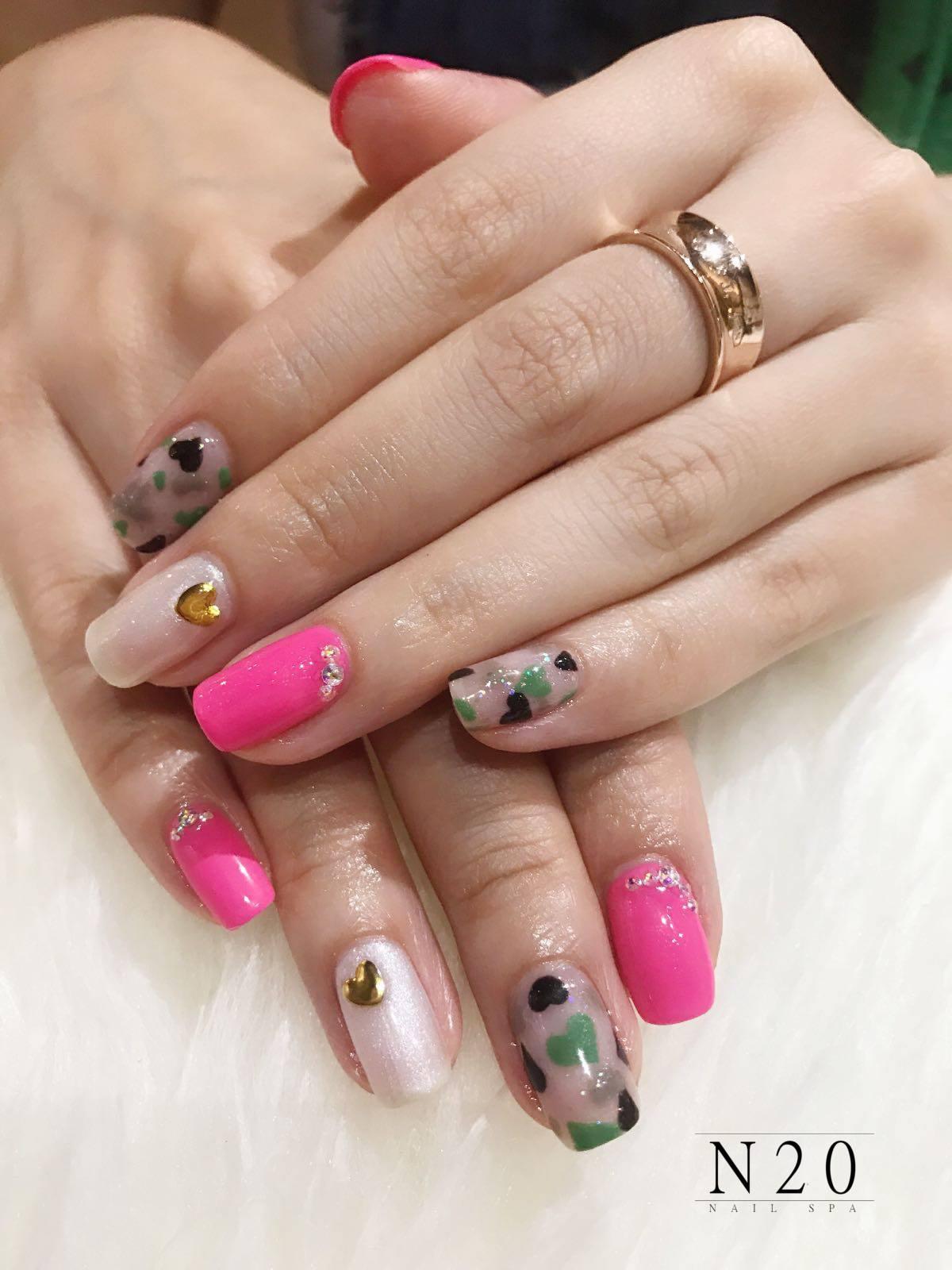 pink natural manicure nail art - N20 Nail Spa