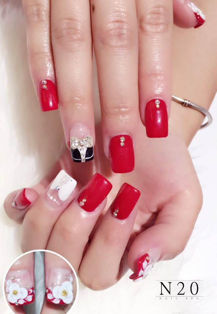 Red White Manicure Nail Art With Jewel Flora N20 Nail Spa