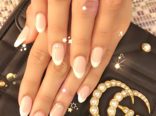 Classic Petite clear glossy shaped nail manicure