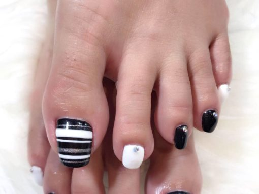 Black white silver glitters studded pedicure nail art